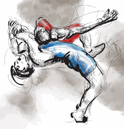 stunt: An hand drawn vector illustration (converted) from series Martial Arts: GRECO-ROMAN WRESTLING (Greco-Roman Wrestling is a style of wrestling that is practiced worldwide).