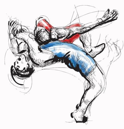 self defense: Una ilustraci�n vectorial de dibujado a mano (convertido) de la serie de artes marciales: lucha grecorromana (Lucha greco-romana es un estilo de lucha libre que se practica en todo el mundo). Vectores