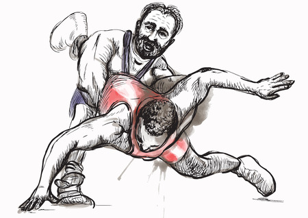 greco: An hand drawn vector illustration (converted) from series Martial Arts: GRECO-ROMAN WRESTLING (Greco-Roman Wrestling is a style of wrestling that is practiced worldwide).