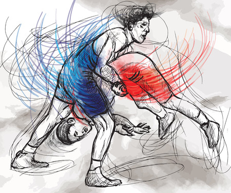 An hand drawn vector illustration (converted) from series Martial Arts: GRECO-ROMAN WRESTLING (Greco-Roman Wrestling is a style of wrestling that is practiced worldwide).