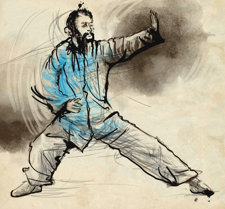 taoist: An hand drawn, full sized, illustration (original) from series Martial Arts: TAIJI (Tai Chi). Is an internal Chinese martial art practised for both its defense training and its health benefits.