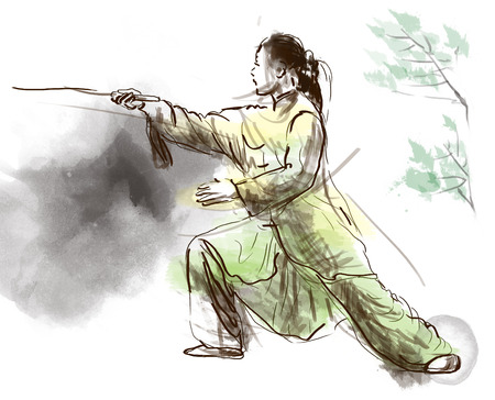 martial ways: An hand drawn, full sized, illustration (original) from series Martial Arts: TAIJI (Tai Chi). Is an internal Chinese martial art practised for both its defense training and its health benefits.