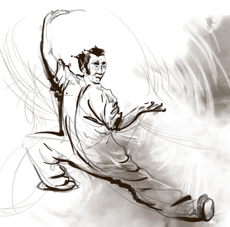 taijitu: An hand drawn, full sized, illustration (original) from series Martial Arts: TAIJI (Tai Chi). Is an internal Chinese martial art practised for both its defense training and its health benefits.