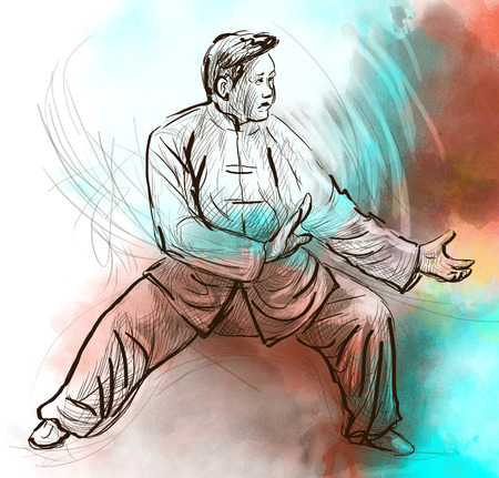An hand drawn, full sized, illustration (original) from series Martial Arts: TAIJI (Tai Chi). Is an internal Chinese martial art practised for both its defense training and its health benefits.