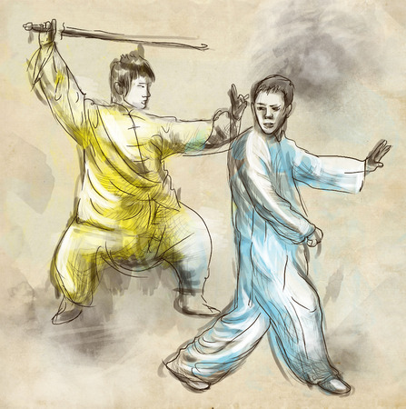 An hand drawn, full sized, illustration (original) from series Martial Arts: TAIJI (Tai Chi). Is an internal Chinese martial art practised for both its defense training and its health benefits. illustration