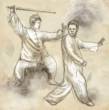 tai chi: An hand drawn, full sized, illustration (original) from series Martial Arts: TAIJI (Tai Chi). Is an internal Chinese martial art practised for both its defense training and its health benefits.