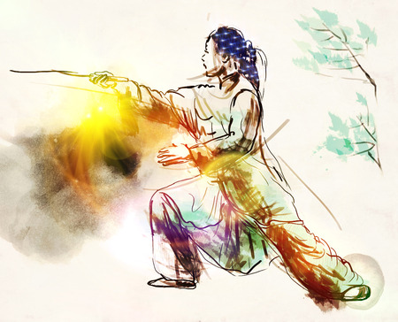 chi: An hand drawn, full sized, illustration (original) from series Martial Arts: TAIJI (Tai Chi). Is an internal Chinese martial art practised for both its defense training and its health benefits.