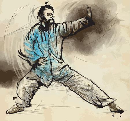 chi: Una ilustraci�n dibujados a mano (convertido en vector) de la serie de artes marciales: TAIJI (Tai Chi). Es un arte marcial chino interno practicado tanto por su entrenamiento de defensa y sus beneficios para la salud. Vectores