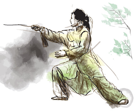 An hand drawn illustration (converted into vector) from series Martial Arts: TAIJI (Tai Chi). Is an internal Chinese martial art practiced for both its defense training and its health benefits. Çizim