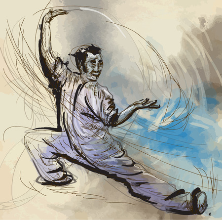 An hand drawn illustration (converted into vector) from series Martial Arts: TAIJI (Tai Chi). Is an internal Chinese martial art practiced for both its defense training and its health benefits. Illustration