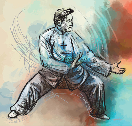 chi: An hand drawn illustration (converted into vector) from series Martial Arts: TAIJI (Tai Chi). Is an internal Chinese martial art practiced for both its defense training and its health benefits. Illustration