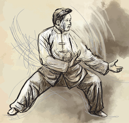 martial ways: An hand drawn illustration (converted into vector) from series Martial Arts: TAIJI (Tai Chi). Is an internal Chinese martial art practiced for both its defense training and its health benefits. Illustration