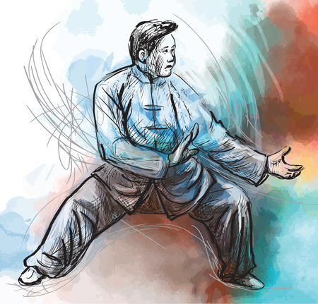 taoist: An hand drawn illustration (converted into vector) from series Martial Arts: TAIJI (Tai Chi). Is an internal Chinese martial art practiced for both its defense training and its health benefits. Illustration