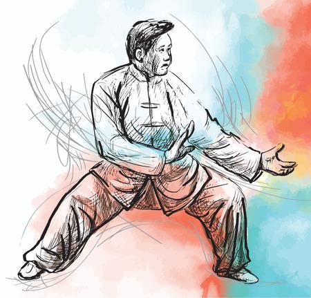 teknik: En handritad illustration (omräknat till vektor) från serie Kampsport: TAIJI (Tai Chi). Är en intern kinesisk kampsport praktiseras för både dess försvarsutbildning och dess hälsofördelar.