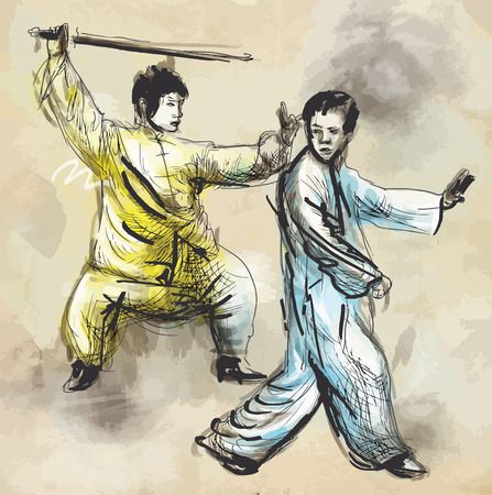 martial art: An hand drawn illustration (converted into vector) from series Martial Arts: TAIJI (Tai Chi). Is an internal Chinese martial art practiced for both its defense training and its health benefits. Illustration