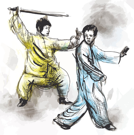 tai chi: An hand drawn illustration (converted into vector) from series Martial Arts: TAIJI (Tai Chi). Is an internal Chinese martial art practiced for both its defense training and its health benefits. Illustration
