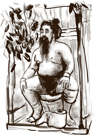 push room: Humorous image on which sits a Sumo fighter on the toilet bowl. An full sized hand drawn illustration in vintage style. Stock Photo