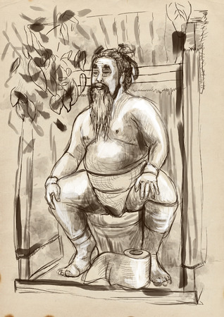fatso: Humorous image on which sits a Sumo fighter on the toilet bowl. An full sized hand drawn illustration in vintage style. Stock Photo