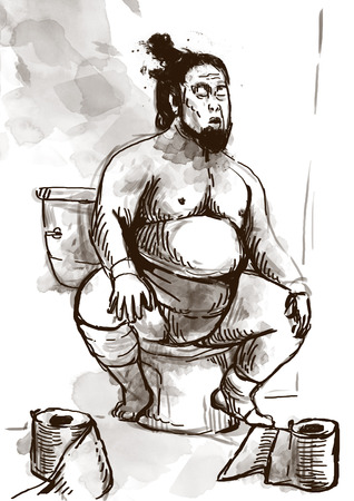 toilet paper art: Humorous image on which sits a Sumo fighter on the toilet bowl. An full sized hand drawn illustration in vintage style. Stock Photo