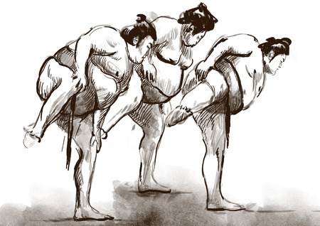 An hand drawn, full sized, illustration (original) from series Martial Arts: SUMO. Is a competitive full-contact wrestling sport originated in Japan, the only country where it is practiced professionally. Stock Photo