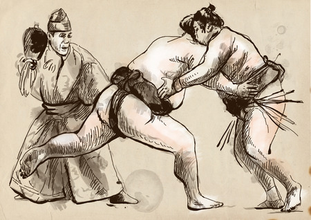it is full: An hand drawn, full sized, illustration (original) from series Martial Arts: SUMO. Is a competitive full-contact wrestling sport originated in Japan, the only country where it is practiced professionally. Stock Photo