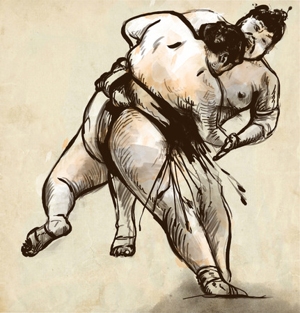 grappling: An hand drawn, full sized, illustration (original) from series Martial Arts: SUMO. Is a competitive full-contact wrestling sport originated in Japan, the only country where it is practiced professionally. Stock Photo