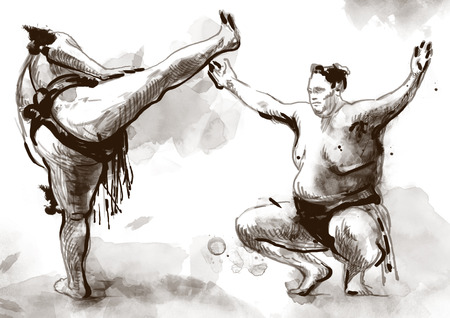 massive: An hand drawn, full sized, illustration (original) from series Martial Arts: SUMO. Is a competitive full-contact wrestling sport originated in Japan, the only country where it is practiced professionally. Stock Photo