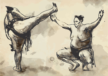 grappling: An hand drawn (converted) vector from series Martial Arts: SUMO. Sumo is a competitive full-contact wrestling sport originated in Japan, the only country where it is practiced professionally.