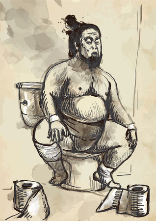push room: Humorous image on which sits a Sumo fighter on the toilet bowl. An hand drawn (converted) vector in vintage style.