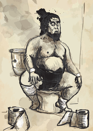 fatso: Humorous image on which sits a Sumo fighter on the toilet bowl. An hand drawn (converted) vector in vintage style.