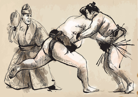 martial art: An hand drawn (converted) vector from series Martial Arts: SUMO. Sumo is a competitive full-contact wrestling sport originated in Japan, the only country where it is practiced professionally.