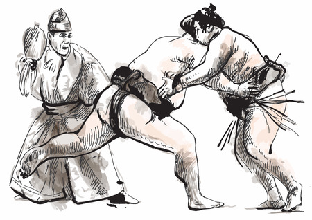 converted: An hand drawn (converted) vector from series Martial Arts: SUMO. Sumo is a competitive full-contact wrestling sport originated in Japan, the only country where it is practiced professionally.