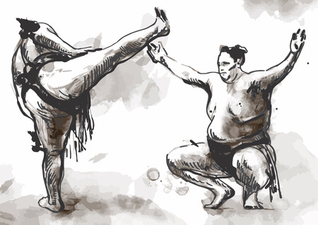 practiced: An hand drawn (converted) vector from series Martial Arts: SUMO. Sumo is a competitive full-contact wrestling sport originated in Japan, the only country where it is practiced professionally.