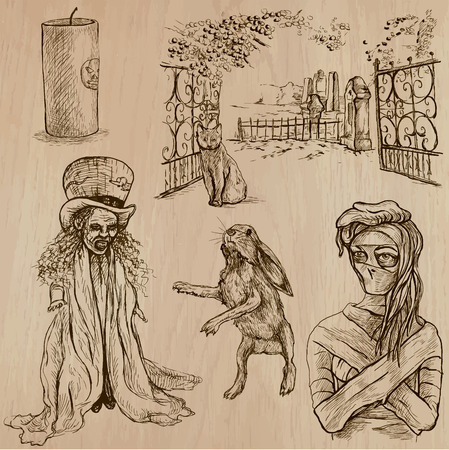 three   layer: Halloween, Monsters, Magic (and Fairy Tales) - Collection of an hand drawn illustrations. Description: Each drawing comprise of two (or three layer) of outlines, the colored background is isolated. Illustration