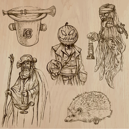 jack pack: Halloween, Monsters, Magic (and Fairy Tales) - Collection of an hand drawn illustrations. Description: Each drawing comprise of two (or three layer) of outlines, the colored background is isolated. Illustration
