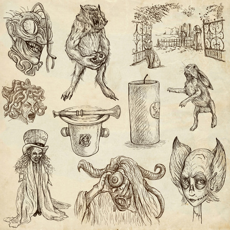 awe:  Halloween, Monsters, Magic (and Fairy Tales) - Collection of an hand drawn illustrations. Description: Full sized hand drawn illustrations drawing on white. Stock Photo