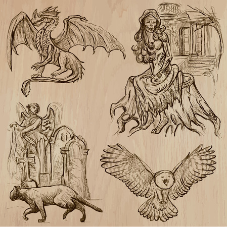 three   layer: Halloween (Monsters, Magic and Fairy Tales) - Collection (no.5) of an hand drawn illustrations. Description: Each drawing comprise of two (or three layer) of outlines, the colored background is isolated. Illustration