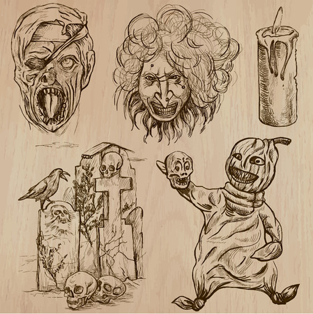 dreadful: Halloween (Monsters, Magic and Fairy Tales) - Collection (no.7) of an hand drawn illustrations. Description: Each drawing comprise of two (or three layer) of outlines, the colored background is isolated. Illustration