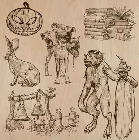 dreadful: Halloween (Monsters, Magic and Fairy Tales) - Collection (no.9) of an hand drawn illustrations. Description: Each drawing comprise of two (or three layer) of outlines, the colored background is isolated.