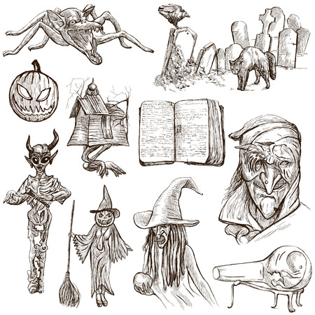 jack pack: Halloween (Monsters, Magic and Fairy Tales) - Collection (no.6) of an hand drawn illustrations. Full sized hand drawn illustrations drawing on white.