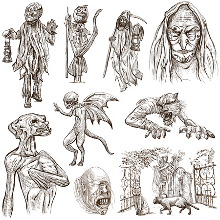 Halloween (Monsters, Magic and Fairy Tales) - Collection (no.7) of an hand drawn illustrations. Full sized hand drawn illustrations drawing on white. Stock Photo