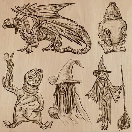 jack pack: Halloween (Monsters, Magic and Fairy Tales) - Collection (no.10) of an hand drawn illustrations. Description: Each drawing comprise of two (or three layer) of outlines, the colored background is isolated. Illustration