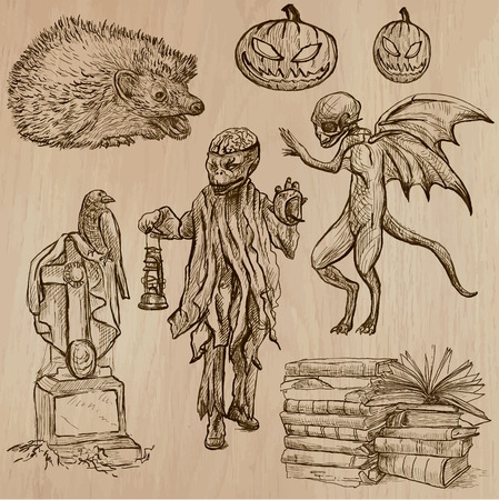 three   layer: Halloween (Monsters, Magic and Fairy Tales) - Collection (no.14) of an hand drawn illustrations. Description: Each drawing comprise of three layer of outlines, the colored background is isolated.