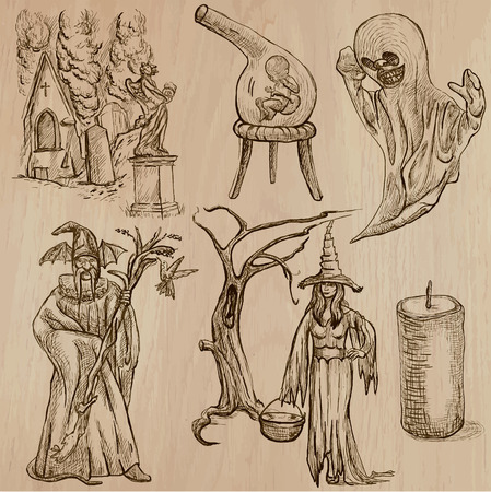the spectre: Halloween (Monsters, Magic and Fairy Tales) - Collection (no.15) of an hand drawn illustrations. Description: Each drawing comprise of three layer of outlines, the colored background is isolated. Illustration
