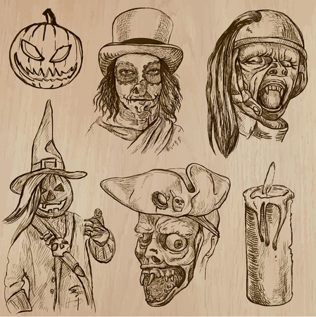 jack pack: Halloween (Monsters, Magic and Fairy Tales) - Collection (no.16) of an hand drawn illustrations. Description: Each drawing comprise of three layer of outlines, the colored background is isolated.