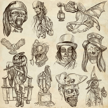 Halloween (Monsters, Magic and Fairy Tales) - Collection (no.9) of an hand drawn illustrations. Full sized hand drawn illustrations drawing on old paper. illustration