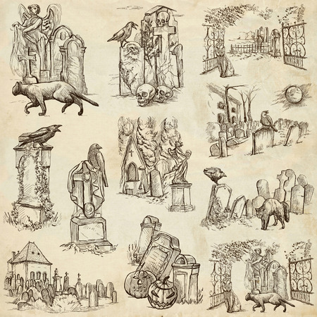 place of worship: From Halloween theme, CEMETERIES - Collection of an hand drawn illustrations. Full sized hand drawn illustrations drawing on old paper.