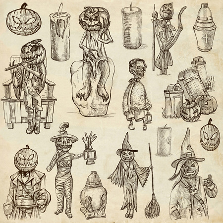 jack pack: From Halloween theme, JACK O LANTERN - Collection of an hand drawn illustrations. Description: Full sized hand drawn illustrations drawing on old paper.