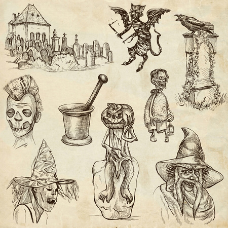 dreadful: Halloween, Monsters, Magic (and Fairy Tales) - Collection (no.10) of an hand drawn illustrations. Full sized hand drawn illustrations drawing on old paper.