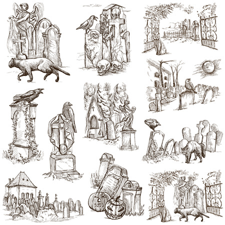 holy place: From Halloween theme, CEMETERIES - Collection of an hand drawn illustrations. Full sized hand drawn illustrations drawing on white. Stock Photo